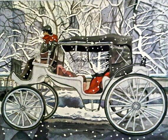 Central Park Beförderung Aquarell Print. von WatercolorsDecor