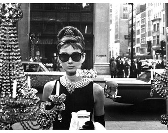 Audrey Hepburn Breakfast at Tiffany's - Vintage Celebrity Poster - Poster Print, Sticker or Canvas Print