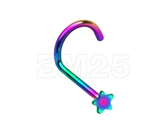 Rainbow Colorline Star Nose Screw Ring