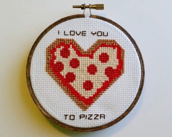 I love you to pizza Cross Stitch