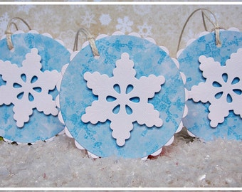 Set of 3 Handmade Christmas Tags, Handmade gift tags