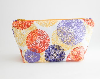 Standing Zip Pouch | Cosmetic Bag in Graphic Circle Print | Shannon Fraser Designs