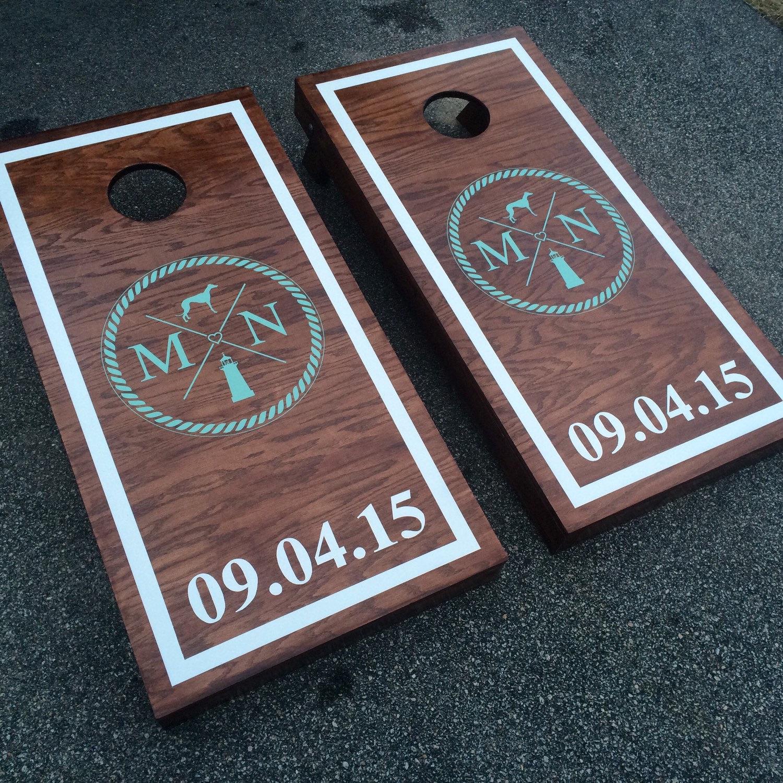 Custom Monogram Wedding Cornhole Boards Painted With Wedding