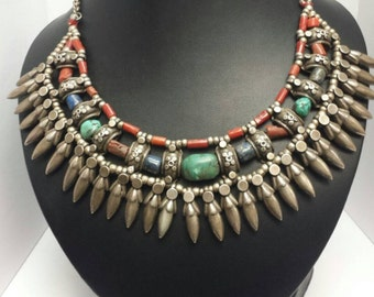 Classic Tibet Coral Turquoise Lapis Necklace