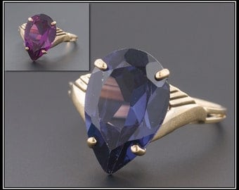 Vintage Color Change Sapphire Ring, 10k Gold Ring