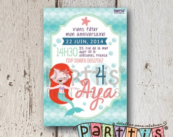 Printable Little Mermaid party invitation