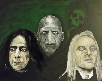 A triple portrait on panel, of Severus Snape, Voldemort and Lucius Malfoy.