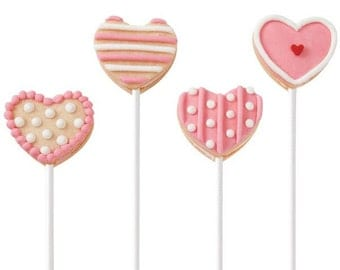 6 I Love You Cookie Lollipops, Decorated Sugar Cookies, Valentine's Day Cookies, Valentine Gifts, gift ideas, baked goods,holiday cookies