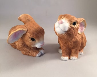 2 Ceramic Bunnies Snuggle Babies by River Shore
