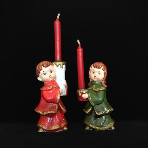 Singing Christmas Decorations: Items Similar To Pair Singing Carolers Candleholders