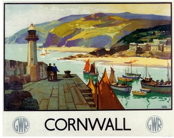 Cornwall Travel Poster Vintage England Travel Poster Rustic Aged Finish
