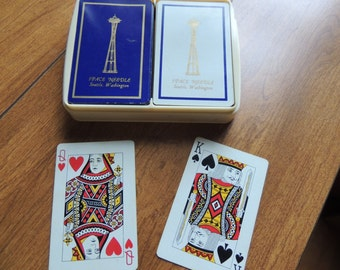 Vintage Aarco Playing Cards -- 2 Decks Space Needle Motif