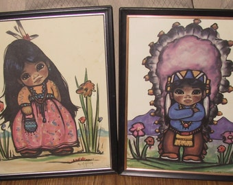 Two Vintage Native American Children Water Colors Paintings/Signed
