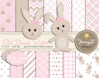 Bunny Rabbit Digital papers, Girl Bunny Clipart, Bunny Baptism, Birthday, Baby Shower, Easter, Pink and Brown Theme, Animal Digital Paper,