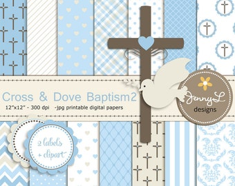 Boy Baptism Digital Papers, Cross Dove Clipart, First Communion, Holy Week Spirit Scrapbooking Paper, Christening, Boy Baptismal, Dedication