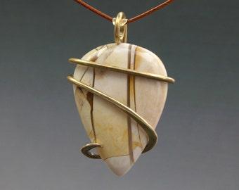 Creamy Brecciated Mookaite Forged Brass Pendant