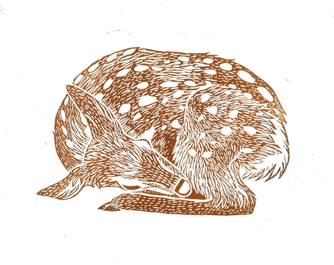 Deer Fawn Sleeping Lino A4 Print Original Linocut Block Print Brown
