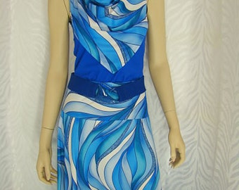 Blue Swirl Print Skirt