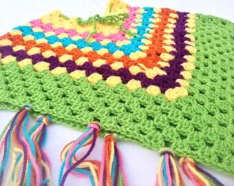 Girl's Rainbow Fall Poncho with Fringe