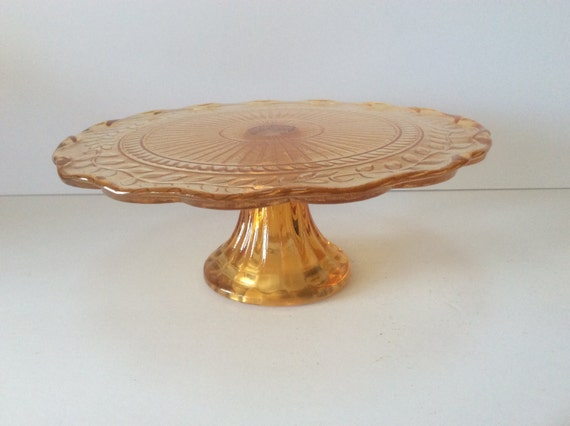 1960 amber glass fluted edge cake stand pedestal by for Fluted pedestal base