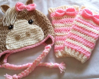 Crochet horse hat and leg warmers