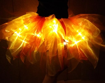 Light Up Fire Adult Tutu Skirt in Organza with 30 microLEDs for Costume / Festival / Burning Man / Cosplay / Rave / Party / Concert