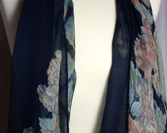 Scarf,Women Floral Scarf Midnight Blue With Floral Prints.