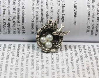 Bird Nest Charms, Antique Silver Tone with 3 Pearl Like Beads Simply Stunning,bird nest pendants 7*20*25MM