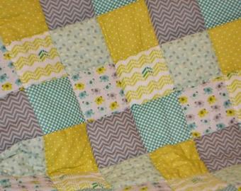 SALE Patchwork Elephants Baby Quilt
