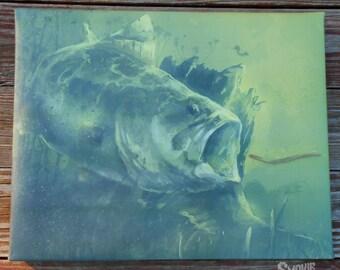 Largemouth Bass Painting - 16x20 Canvas Wall Art - Print/Reproduction