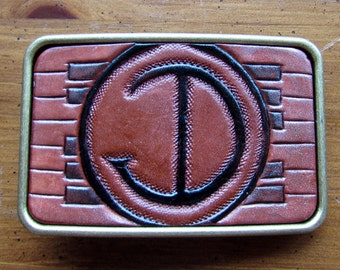 Leather Buckle, Rectangular, Carved & Personalized Belt Accessory