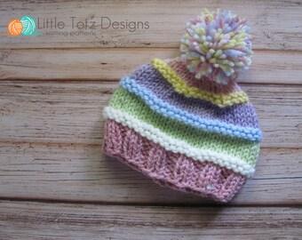 Pom Pom Beanie with Ridges -  Knitting Pattern - Newborn