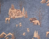 1 3/4 Yards Holly Taylor Classics Fabric - Dark Blue Hunting Fishing Lodge Bears Moose Wolves Geese Log Cabin - Man Cave Quilting Fabric