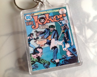 DC Comics Merchandise/ Batman Memorabilia /Batman Collectables /The Joker /Vintage comic book cover /Keychain/ Keyring