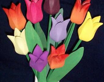 "Wooden tulip bouquet  ""Rainbow"""