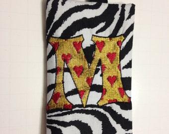 Zebra Pocket Tissue Holder. Customized. Embroidered.