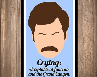 "INSTANT DOWNLOAD - Ron Swanson ""Crying"" Print"