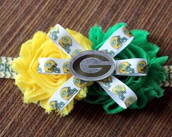 Packers Baby Headband - Green Bay - NFL - Football ribbon - Green bay packers baby
