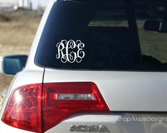 Monogram Car Decal - Vinyl Vine Monogram Car Decal, Vinyl Monogram Decal - Monogram Decal For Car - Car Decal - Monogram Sticker, Vine Decal