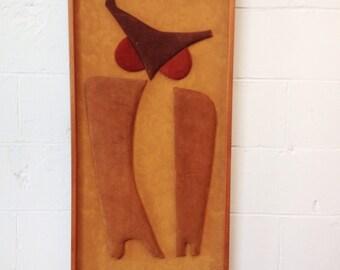 Mid Century Suede Owl Wall Sculpture by Klara Sever
