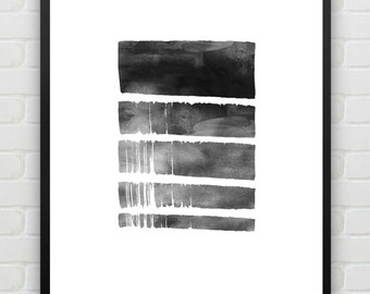 Black and White Wall Art, Abstract Art, Modern Minimal Painting, Home Decor, Scandinavian, Monochrome, Printable Instant Download