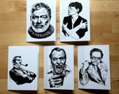 """Drunk Authors: Greeting Card With Quote, 5X7"""" A7 card with envelope- set of FIVE!"""