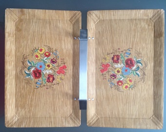 Vintage Folding Haskelite Floral Wood Tray