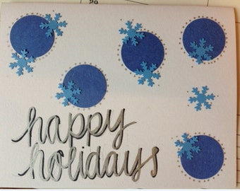 Snowflake handmade card (holidays, Christmas, etc.)