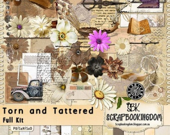 "Digital Scrapbooking  Kit  ""TORN and TATTERED  Shabby, Grungy For use in Scrapbooking, Card making , paper crafts, website design,"