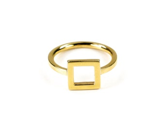 Geometric ring / Vermeil yellow gold / square