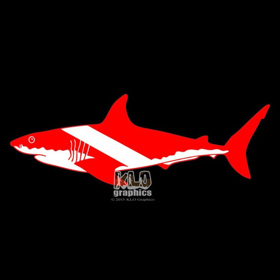 Shark Diver Down Vinyl Sticker Decal By Klographicscolospgs