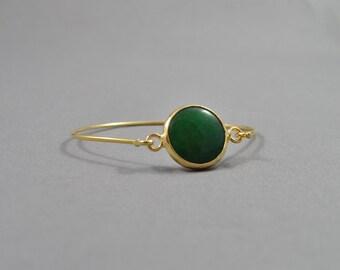 Green Bracelet. Simple Bracelet. Green Bracelet. Gold Bangle. Delicate Bangle. Green Bangle