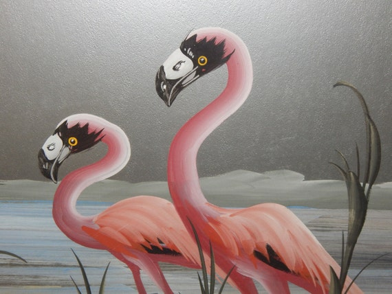 Art Deco Pink Flamingo M Devoe Painting Mid Century Tropical
