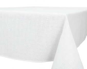 White Woven Linen Cotton Tablecloth 250cmx150cm